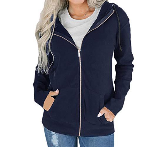 OYSOHE Damen Mantel,Langarm Reißverschluss Taschen Sweatshirt Outwear Kapuzenjacke