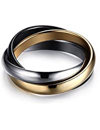 Boansi Anillo de boda para mujer, de titanio, de acero, trinidad plateada,