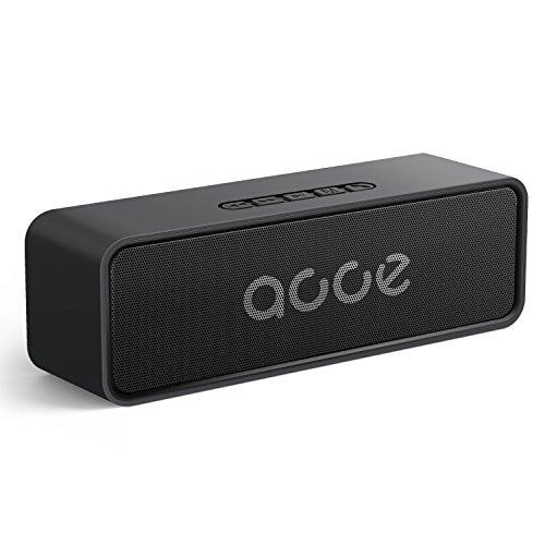 Bluetooth Box 5.0, AOOE kabellose musikbox, 20m-50m Reichweite, 10W Dual-Treiber, 20 Std. Spielzeit, mit eingebauter Freisprecheinrichtung und Aux USB Kabel TF Karte Slot (Schwarz)