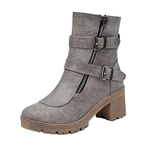 Stiefeletten Damen Leder Mit Absatz Plateau Blockabsatz Elegant Boots Frauen Kurzschaft Schnallen Reißverschluss Stiefel -
