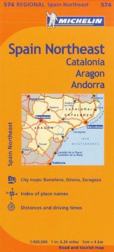 Michelin Spain: Northeast Catalonia, Aragon, Andorra, Map 574 (Maps/Regional (Michelin)) por Michelin