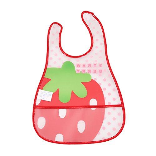 VWH Baby-Lätzchen mit seitlichem Klettverschluss wasserdicht und waschbar kindgerechte Lätzchen (Große Erdbeere) (Große Wasserdichte Baby Lätzchen)