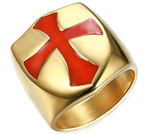 Ueice Herren Religiös Templer Ritter Christian Kreuz Gebete Rostfreier Stahl Ringe,Gold,Größe 67 (21.3)