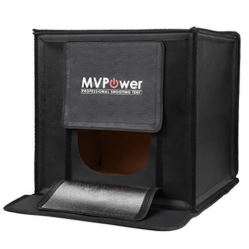 MVPOWER Mobiles Fotostudio Faltbar Foto Zelte 40x40x40cm Mini Lichtwürfel mit 50w LED Leuchte,Lichtzelte mit 4 Hintergrund(Weiß, Schwarz, Orange, Grün)