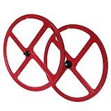 Laufradsatz Singlespeed Fixie 700C/28 Vorderrad und Hinterrad mit Freilaufritzel – Leichtmetall - 4 Speichen - Rot