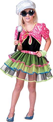 Kinder Rockstar Kostüm (Kostüm Rockstar Neon Sterne Mädchen Karneval Fantazie Popstar Mädchenkostüm Größe)