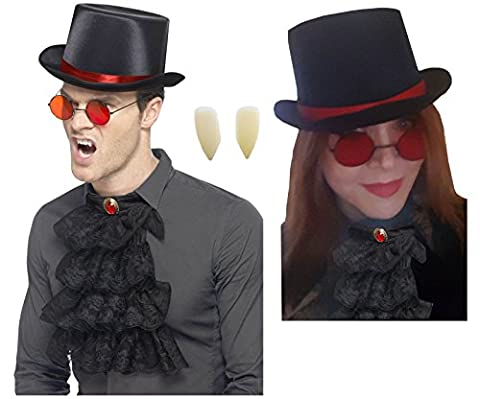 Steampunk Gothic Top Hat+Round Red Glasses+Black Cravat Neck Frill+Vampire Fangs (Glass Hat)