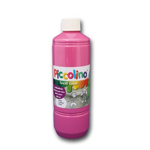 Textilfarbe pink, 500ml Flasche - PICCOLINO Textil Color - Stoffmalfarbe auf Wasserbasis, hochwertig, gebrauchsfertig, ergiebig
