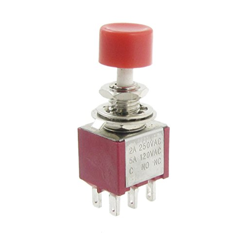 4 Pcs AC 250V 5A 120V, 2 DPDT 2NO 2NC Momentary Push Button Switch -