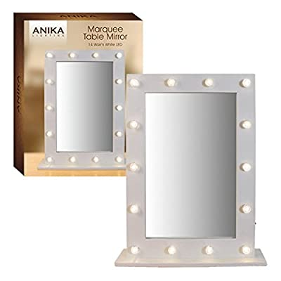 Anika Battery Operated Free Standing LED Marquee Mirror, Warm White - low-cost UK light store.