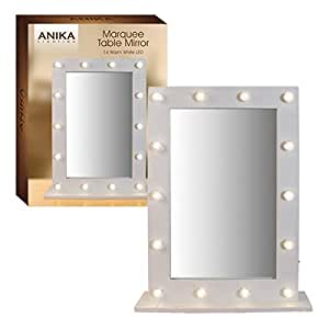 14 white light up led makeup hollywood dressing table mirror 50cm x 40cm x 10cm. Black Bedroom Furniture Sets. Home Design Ideas