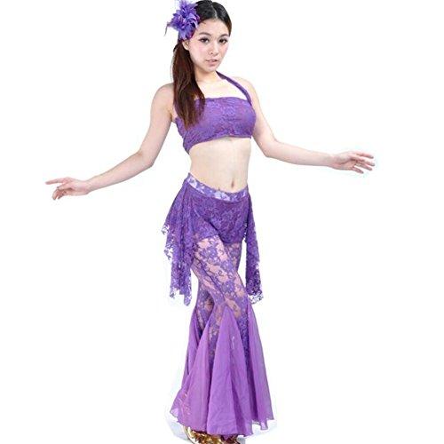 Wgwioo Bauchtanz Outfit Frauen Lace Practice Hosen Modern Kostüm Professionelle Performance Match Praxis Kleidung Set, Deep Purple, - Lace Unitard Tanz Kostüm