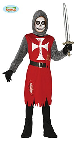 Halloween Ritter Kostüm für Kinder Zombie Geist Kinderkostüm Geister Jungen Blutig Ritterkostüm Gr. 110-146, (Armee Schwarzer Ritter Kostüm)