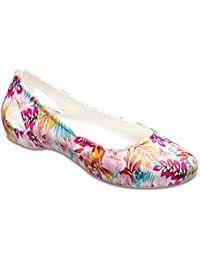 Crocs Womens Crocs Laura Graphic Flat W Tropical Floral White Flat