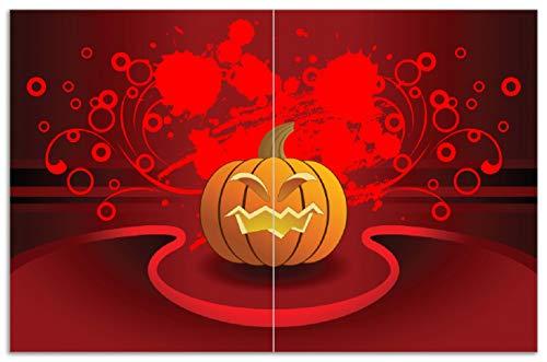 Wallario Herdabdeckplatte/Spritzschutz aus Glas, 2-teilig, 80x52cm, für Ceran- und Induktionsherde, Motiv Geschnitzter Halloween-Kürbis im Comic Stil