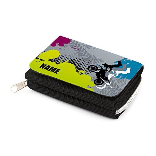 Striefchen® Kindergeldbörse mit Namen - Motocross - in schwarz mit Geschenkverpackung