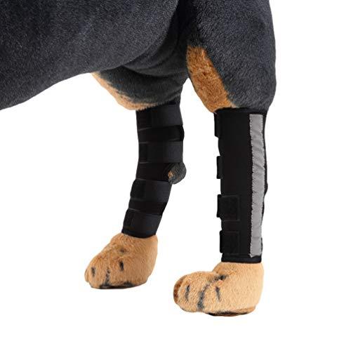YiiJee 2 Pcs Hund Knieschoner Pet Displayschutzfolie Gelenk Wrap Brace Hund Gegenstütze für Hind Bein (Schwarz #2, L)