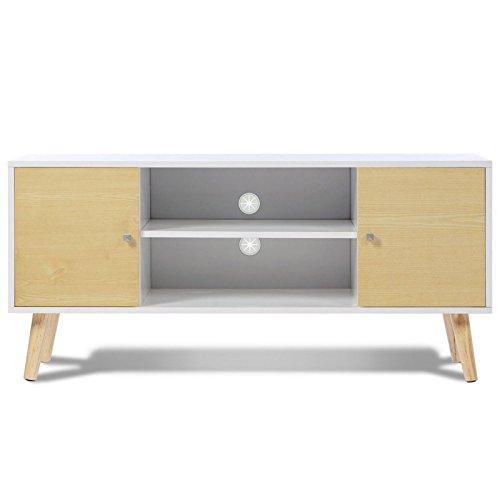 IDMarket - Meuble TV EFFIE scandinave bois blanc et imitation hêtre