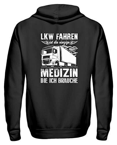 Lastwagen Shirt · Trucker · Geschenk für LKW-Fahrer · Spruch: Fahren ist Meine Medizin - Zip-Hoodie -L-Schwarz Baby Zip Hoodie