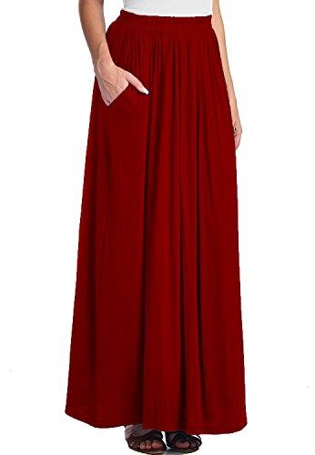 CoutureBridal® Femme Jupe d'été longue femme Maxi Jupe Spandex rouge vineux