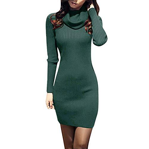 Pulloverkleid Sannysis Damen Langarm Basic Strickpullover Herbst Winter Frauen Cowl Neck Stricken Dehnbar Elastizität Slim Fit Pullover Kleid -