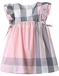 Vestido de niña, Riou Vestido para Bebés Ropa Vestidos de Cintura Lateral con Mangas voladoras para niñas Lindo…