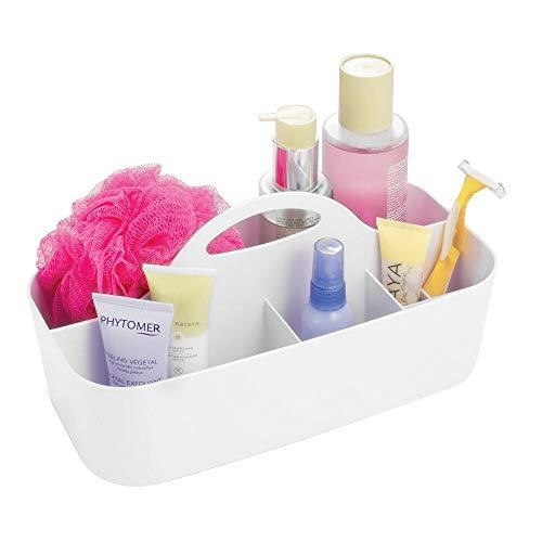 mDesign Badezimmer Korb - 6 Fächer - Organizer Dusche und Bad - Aufbewahrungsbox - Farbe: Weiß, Material: Kunststoff - Für Duschgel, Shampoo, Rasierer (Caddy Weiß Kunststoff Dusche)