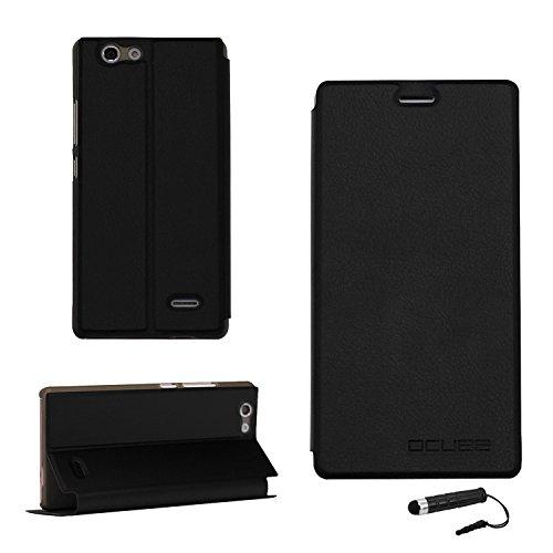 Tasche für Oukitel C4 Hülle, Ycloud PU Ledertasche Metal Smartphone Flip Cover Case Handyhülle mit Stand Function Schwarz
