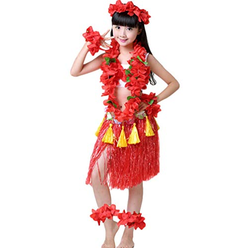 Kostüm Männer Hula Girl - Haobing Hawaii Party Fancy Dress Kostüm Set Luau Hula Rock Blume Armbänder, Stirnband, Blumenkette für Mädchen (Rot, 8pcs/Set)