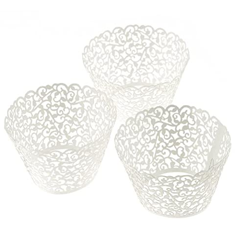 100 Filigree Little Vine Lace Laser Cut Cupcake Wrapper Liner Baking Cup Muffin Case Trays Wedding Birthday Party Decoration (WHITE, 1)