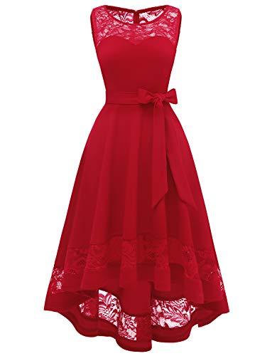 Gardenwed Vintage Vestidos de Cóctel Elegante Alto Bajo Vestidos de Dama de Honor Homecoming Red XS