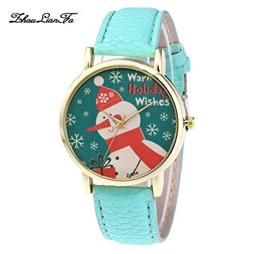 Altsommer Weihnachten Uhren für Damen Herren Kinder Leder Armbanduhren mit Schneemann Muster,Armbanduhr Herren Damen-Uhr,Quartz Analog Uhren,Casual Sport Lederarmband Armbanduhr (Mint Grün) -