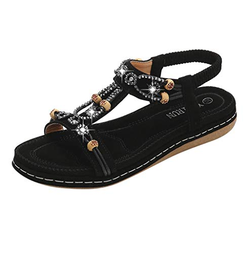 Tomatoa-Sandals Damen Sommer Sommerschuhe Beach Sandal Flach PU Leder Zehentrenner Flip-Sandalen Sommer Strand Schuhe Böhmische Frauen Schuhe Freizeit Gr.35-42 -