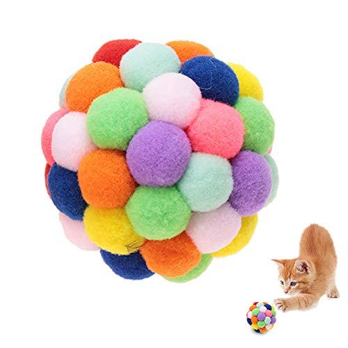 HEEPDD Bunte Katze Ball, handgefertigter Plüsch-Flummi mit Katzenminze und Bell-Interaktives Spielzeug für Katzen Kätzchen Ausbildung(M)