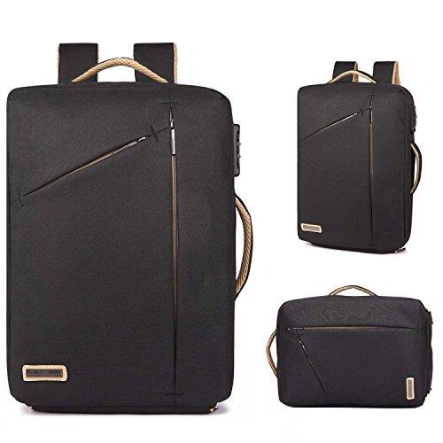 Neuleben Multifunktional 15,6'' Laptop Rucksack Handtasche Diebstahlschutz Wasserfest Business Aktentasche Notebooktasche für Damen Herren (Schwarz) -