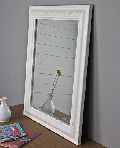 Specchio da parete, 62 x 52 cm, bianco, in legno