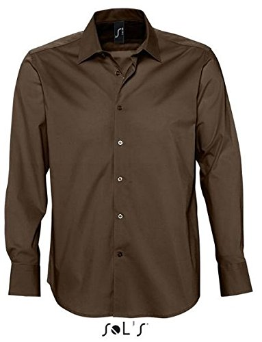Herren Langarm Stretch Hemd der Französischen Marke Sols im Body-Fit Style ( Körperbetonter Schnitt ) in den 5 Farben und den Grössen S, M, L, XL und XXL Dunkelbraun,XL