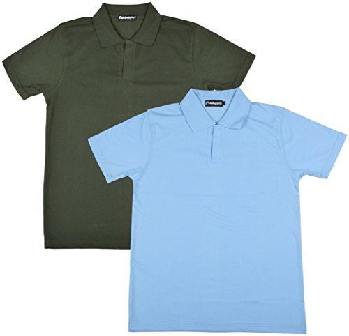 Pintapple Men's Half Sleeve ComfortSoft Cotton Polo Neck T-Shirt - Pack of 2