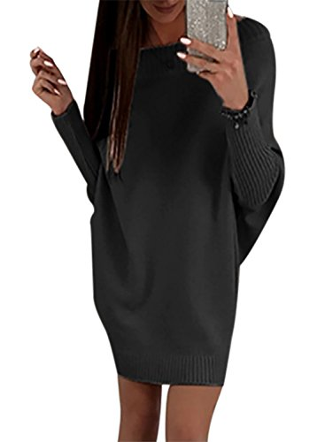 Happy Sailed Damen Fledermaus Ärmel Schulterfrei Strickkleid Sweater Kleid Pullover Kleid Pullikleid Strickpullover Kleid S-XXL, Schwarz, Small(EU36-38)