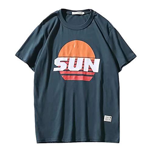LHWY Camisa de Hombre Tops Shirt 2019 Camiseta de Manga Corta con Estampado  básica Moda Informal Cuello Redondo diseño Hipster Suelto Fashion Sun