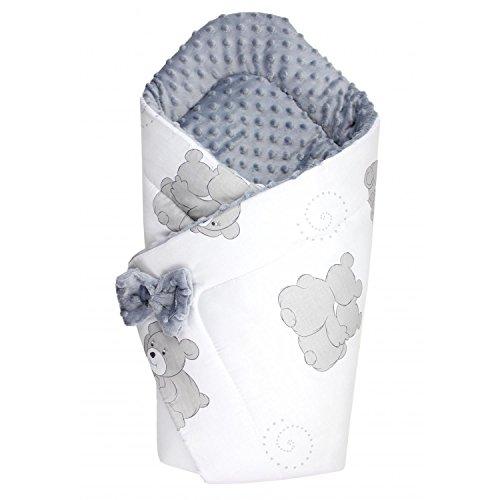 TupTam Baby Winter Einschlagdecke Warm Wattiert Minky, Farbe: Bärchen Grau, Größe: ca. 75 x 75 cm