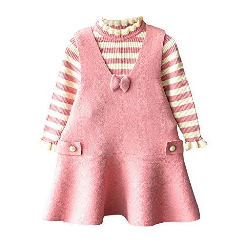 Baby Mädchen Kleider Langarm Streifen Tops Bogen Prinzessin Party Rock Kleid Outfit Set Mode Kleidung Sweater Outfits - Baumwolle Terry Skirt