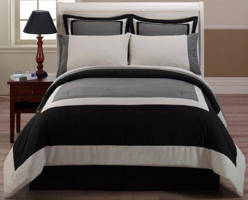 Chezmoi Collection 8Schwarz Grau Hotel Bett in Einem Beutel Tröster mit-Bettlaken-Set, California King (Schwarze Bettdecke Bett In Einem Beutel)