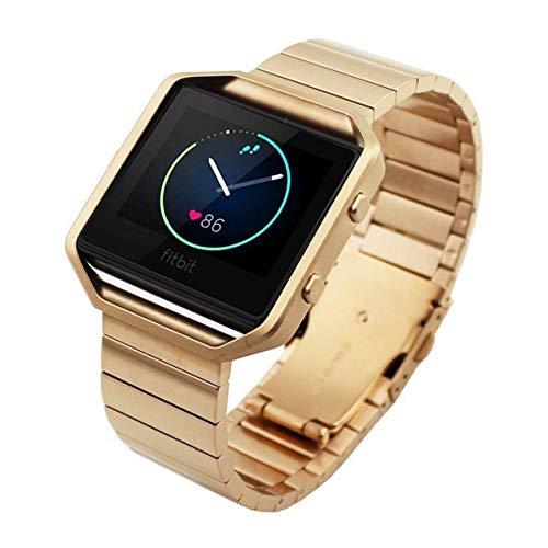 FOTOWELT Fitbit Blaze Banda de Reloj, Lujo de Moda Stailess Acero Correa de Pulsera Banda de Reemplazo para Fitbit Blaze Smart Fitness Reloj -Oro Rosa
