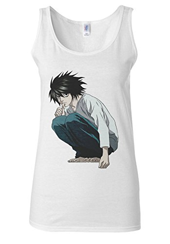 Japanese Anime L Desu Nôto Death Note Noto White Women Vest Tank Top **Blanc