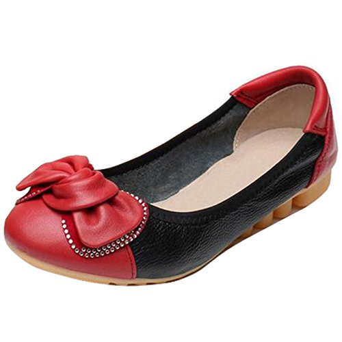 Mashiaoyi Femme Bout Rond Plat a Enfiler Bowknot Mocassins Rouge C