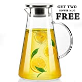 68 Oz Glass Water Pitcher with Stainless Steel Lid, Beverage Jug for Juice