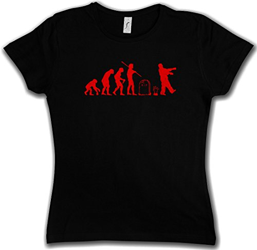 ZOMBIE EVOLUTION BLACK WOMAN GIRLIE DONNA T-SHIRT - Horror Biters The Walking Shirt Dead Walkers Living Zombi Taglie XS - 2XL