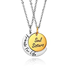 Idea Regalo - JewelryWe Collana Pendente da Donna Uomo Ragazzi Incisione Regalo, con Ciondolo Forma Luna Sole Friends for Life Soul Sisters, Collana Amicizia Sorella, Regalo DIY
