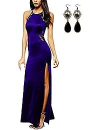 250ca278e710 Angelwing da Donna Sottile Vestito con Aberturas Abito Maxi di Pizzo Senza  Schienale Vestiti da Cerimonia